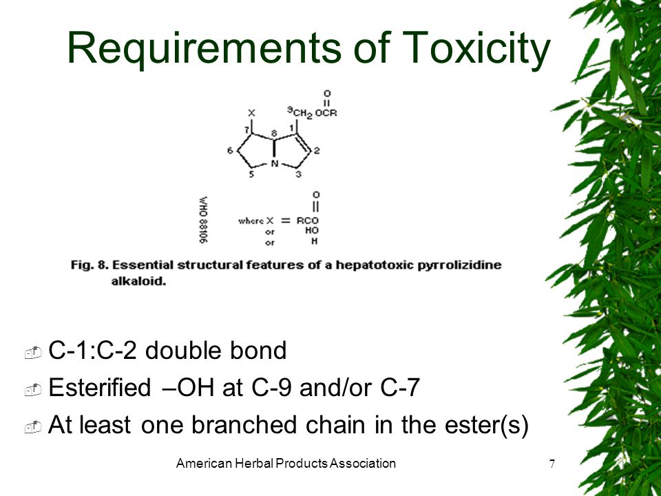American Herbal Products Association7 Requirements of Toxicity C-1:C-2 double bond Esterified –OH at C-9 and/or C-7 At least one branched chain in the ester(s)