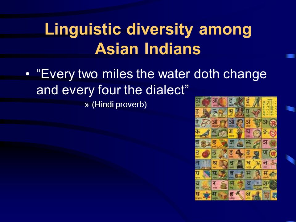Linguistic diversity among Asian Indians Every two miles the water doth change and every four the dialect »(Hindi proverb)