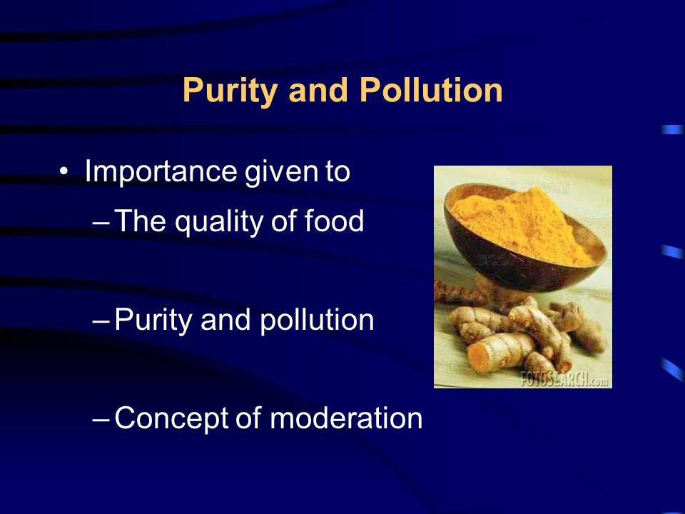 Purity and Pollution Importance given to –The quality of food –Purity and pollution –Concept of moderation