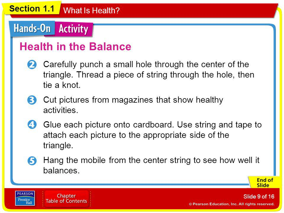 Section 1.1 What Is Health.Slide 10 of 16 Health in the Balance How well did the mobile balance.