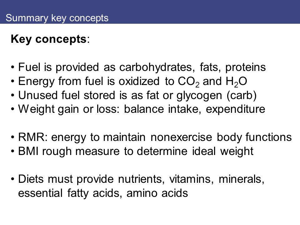 Summary key concepts Key concepts: Fuel is provided as carbohydrates, fats, proteins Energy from fuel is oxidized to CO 2 and H 2 O Unused fuel stored