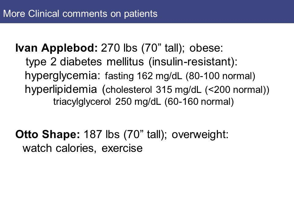 More Clinical comments on patients Ivan Applebod: 270 lbs (70 tall); obese: type 2 diabetes mellitus (insulin-resistant): hyperglycemia: fasting 162 m