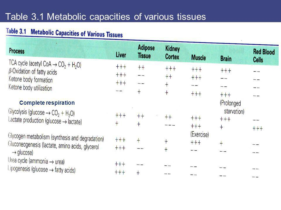 Table 3.1 Metabolic capacities of various tissues Complete respiration