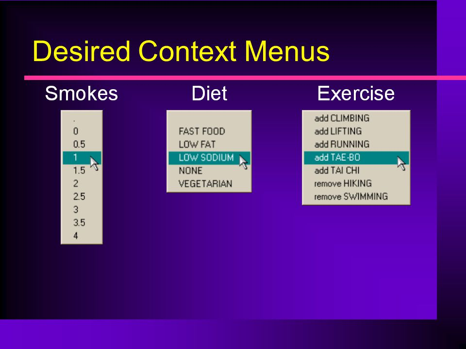 Desired Context Menus