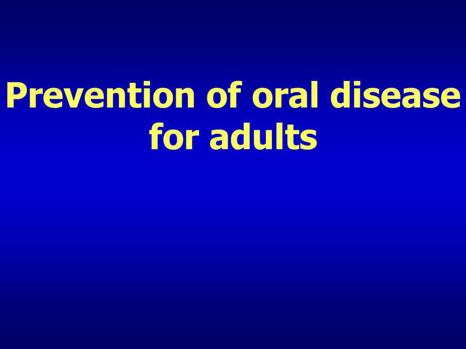 Prevention of erosion– dietary counselling (1) Recommendations (V) Limit frequency of acidic drinks and foods If do, cheese and milk afterwards Use a straw Dont hold or swish acidic drinks Dont brush for 1 hr after exposure or vomitting Fluoride usage!
