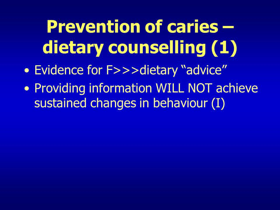 Evidence for F>>>dietary advice Providing information WILL NOT achieve sustained changes in behaviour (I)