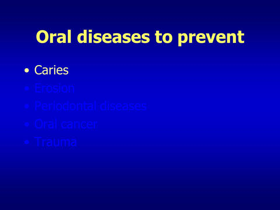 Oral diseases to prevent Caries Erosion Periodontal diseases Oral cancer Trauma