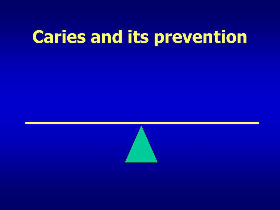 Prevention of caries – Fluoride (5) Fluoride Mouthrinses 2 types –Daily (0.05% F) –Weekly (0.2% F) Both give 26% reduction in caries (I) Recommended for high risk patients – Active decay –Poor quantity or poor quality of saliva