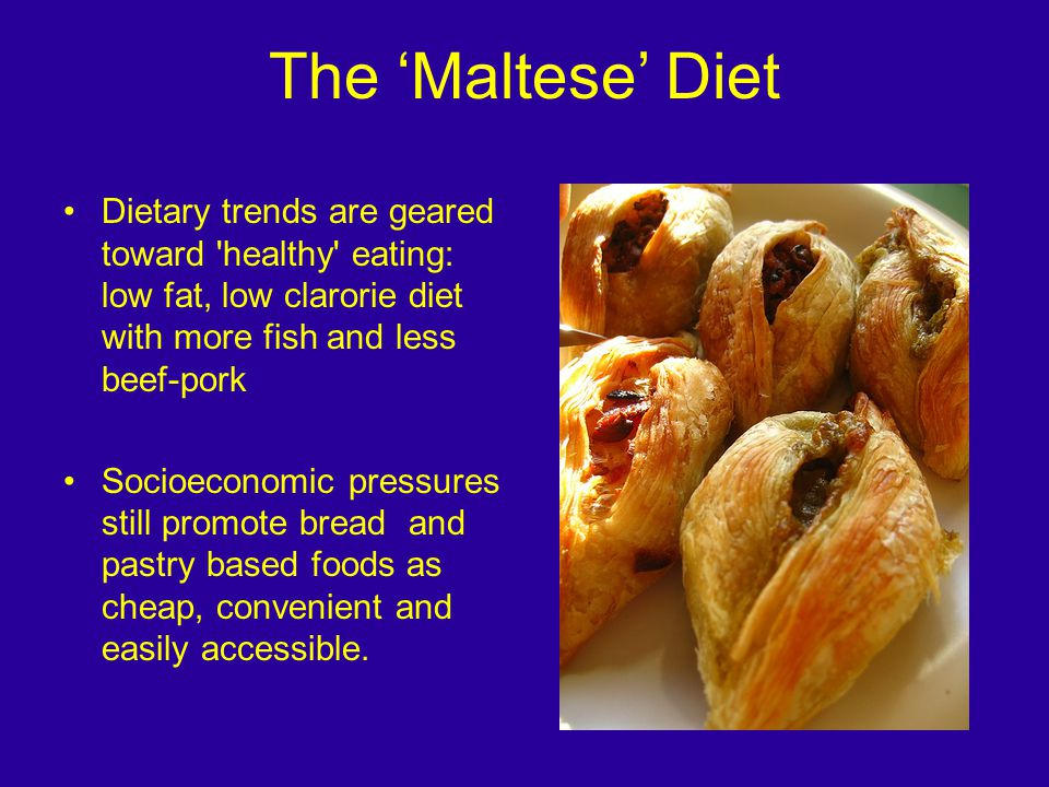 Dietary trends are geared toward healthy eating: low fat, low clarorie diet with more fish and less beef-pork Socioeconomic pressures still promote bread and pastry based foods as cheap, convenient and easily accessible.