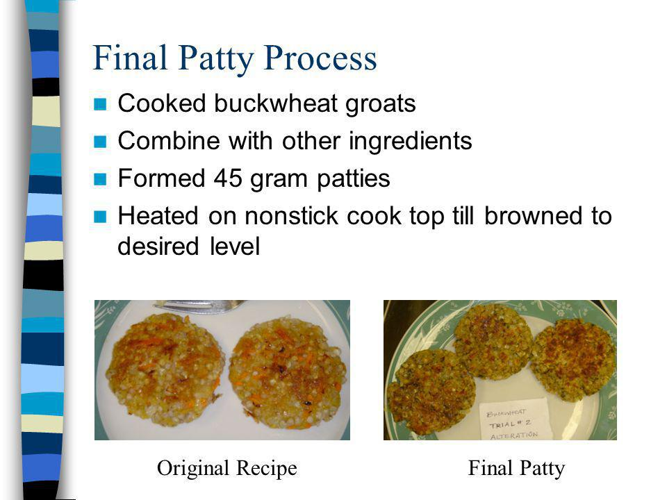 Final Patty Process Cooked buckwheat groats Combine with other ingredients Formed 45 gram patties Heated on nonstick cook top till browned to desired