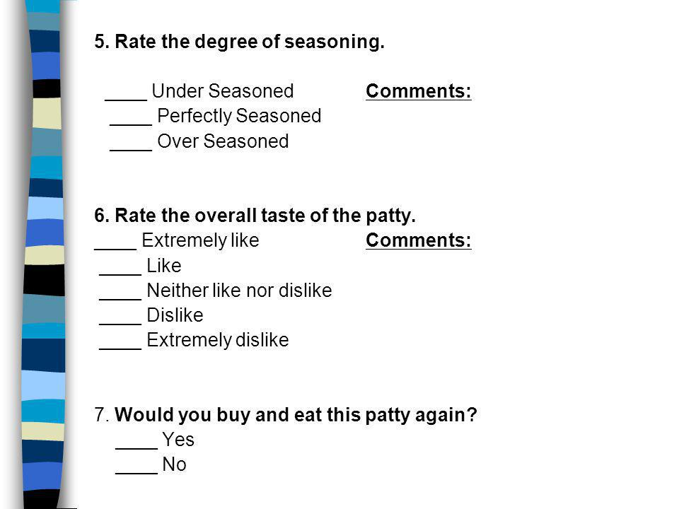 5. Rate the degree of seasoning. ____ Under SeasonedComments: ____ Perfectly Seasoned ____ Over Seasoned 6. Rate the overall taste of the patty. ____