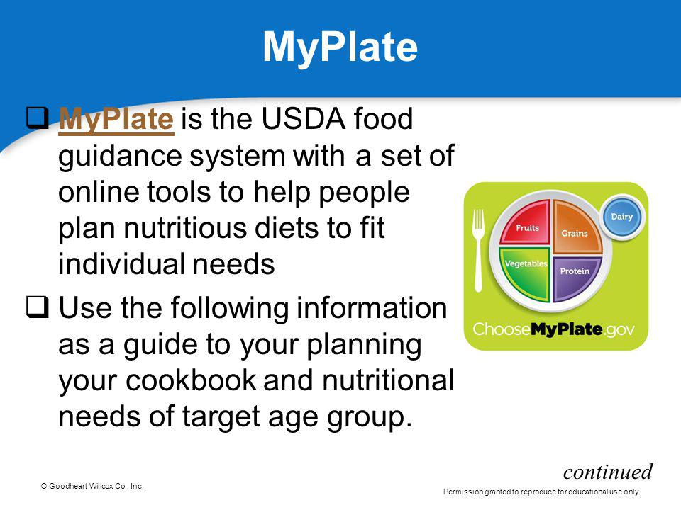 © Goodheart-Willcox Co., Inc. Permission granted to reproduce for educational use only. MyPlate MyPlate is the USDA food guidance system with a set of