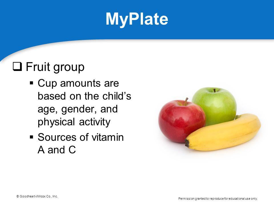 © Goodheart-Willcox Co., Inc. Permission granted to reproduce for educational use only. MyPlate Fruit group Cup amounts are based on the childs age, g