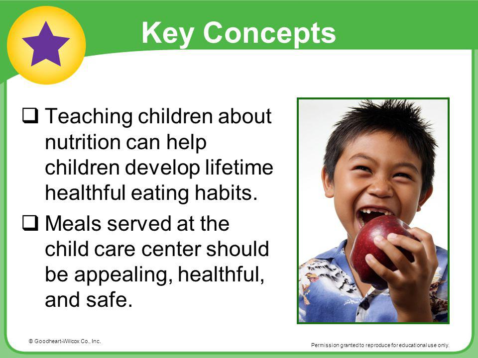 © Goodheart-Willcox Co., Inc. Permission granted to reproduce for educational use only. Key Concepts Teaching children about nutrition can help childr