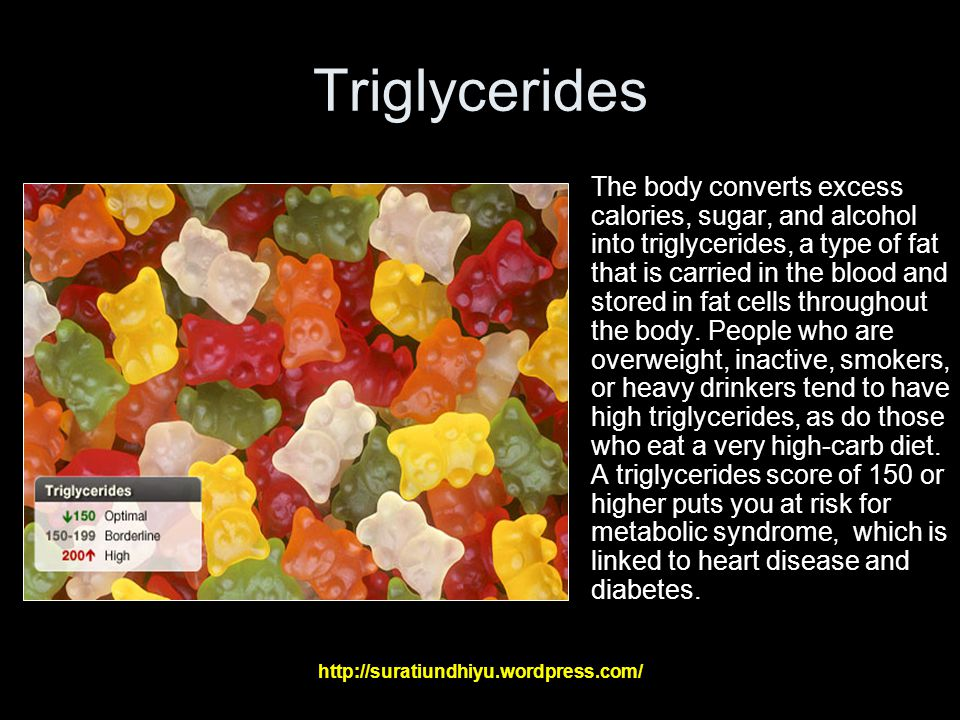 Triglycerides The body converts excess calories, sugar, and alcohol into triglycerides, a type of fat that is carried in the blood and stored in fat cells throughout the body.