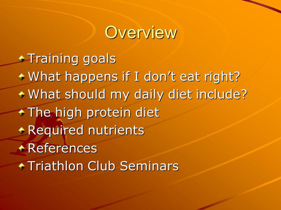 Overview Training goals What happens if I dont eat right.