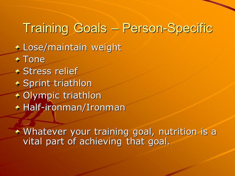 Training Goals – Person-Specific Lose/maintain weight Tone Stress relief Sprint triathlon Olympic triathlon Half-ironman/Ironman Whatever your training goal, nutrition is a vital part of achieving that goal.