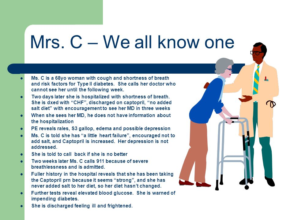 Ms.C is a 68yo woman with cough and shortness of breath and risk factors for Type II diabetes.