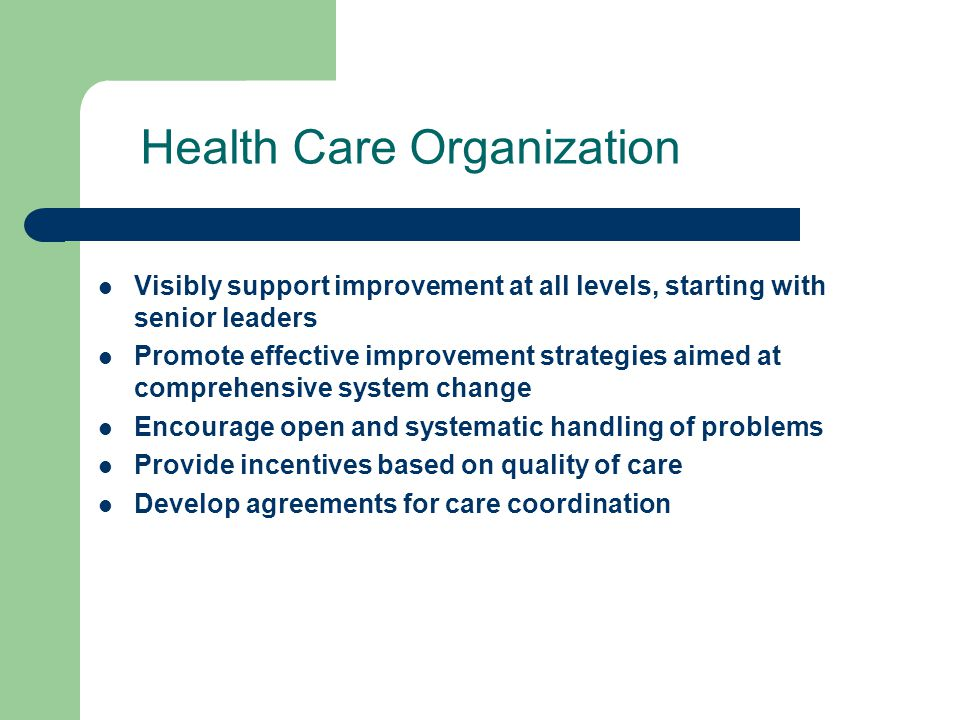 Health Care Organization Visibly support improvement at all levels, starting with senior leaders Promote effective improvement strategies aimed at comprehensive system change Encourage open and systematic handling of problems Provide incentives based on quality of care Develop agreements for care coordination
