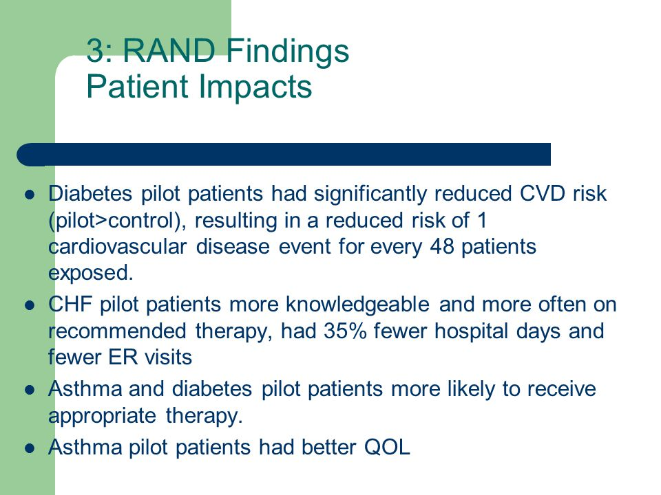 3: RAND Findings Patient Impacts Diabetes pilot patients had significantly reduced CVD risk (pilot>control), resulting in a reduced risk of 1 cardiovascular disease event for every 48 patients exposed.