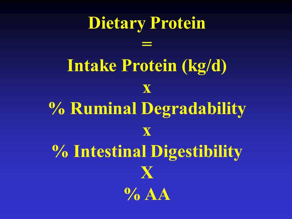 Dietary Protein = Intake Protein (kg/d) x % Ruminal Degradability x % Intestinal Digestibility X % AA