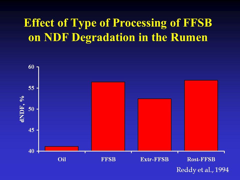 Effect of Type of Processing of FFSB on NDF Degradation in the Rumen Reddy et al., 1994