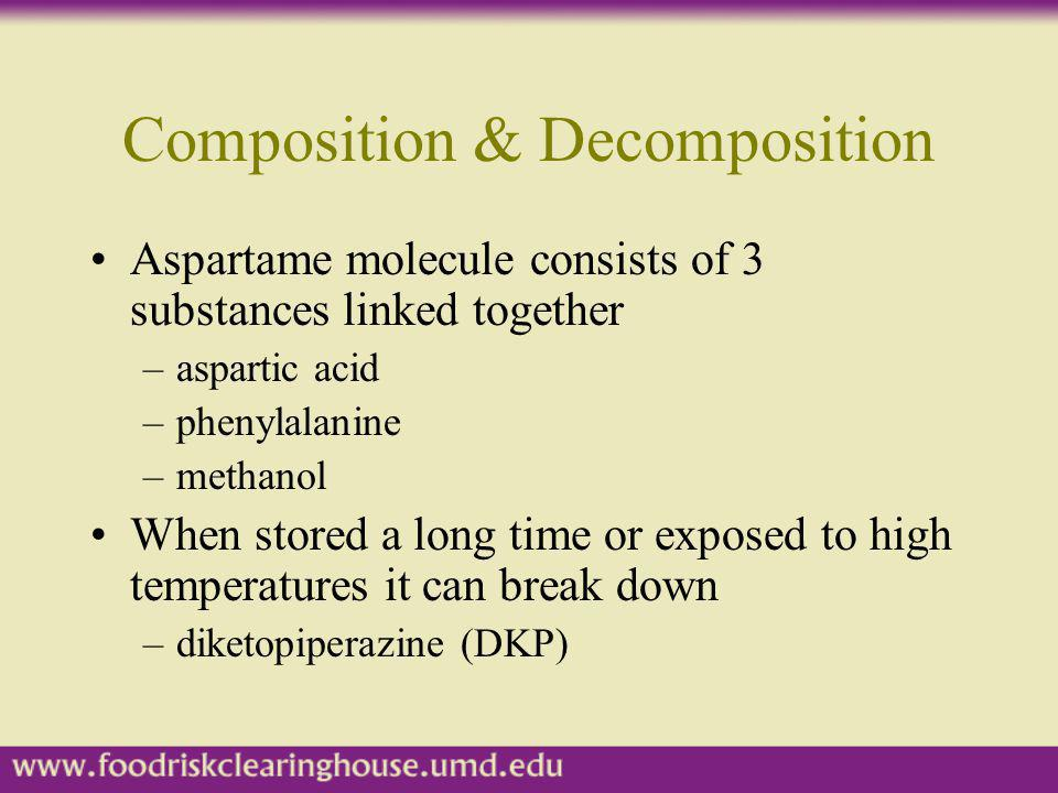 Composition & Decomposition Aspartame molecule consists of 3 substances linked together –aspartic acid –phenylalanine –methanol When stored a long tim