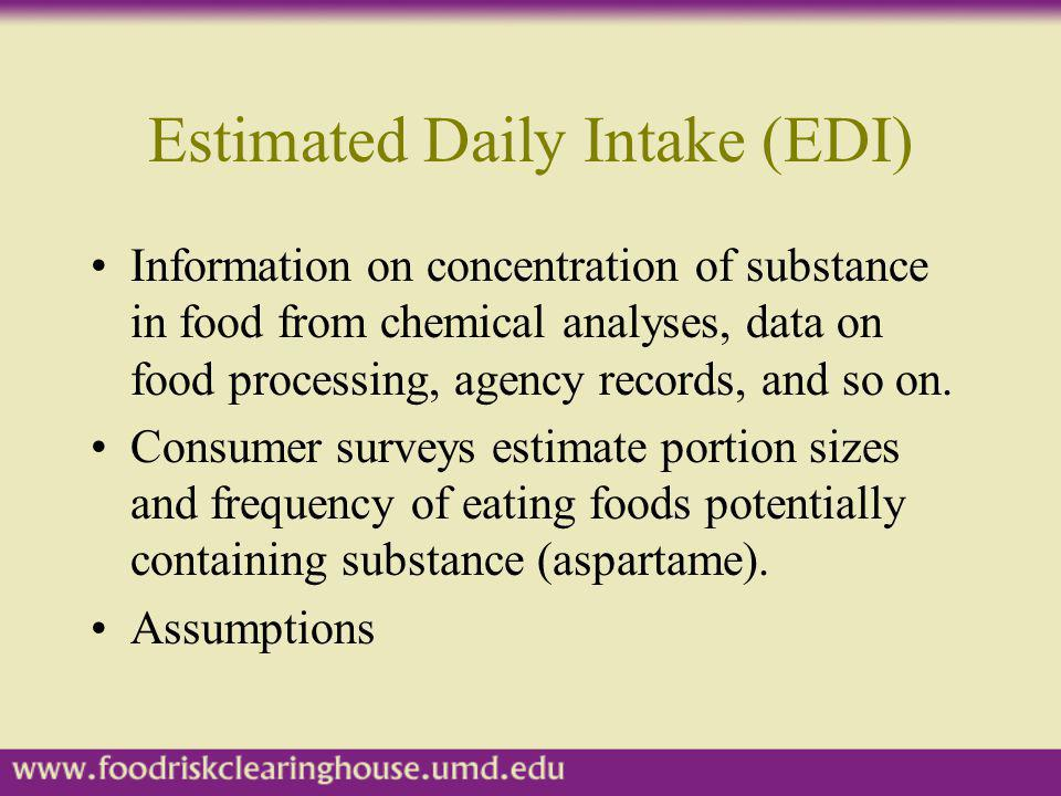 Estimated Daily Intake (EDI) Information on concentration of substance in food from chemical analyses, data on food processing, agency records, and so