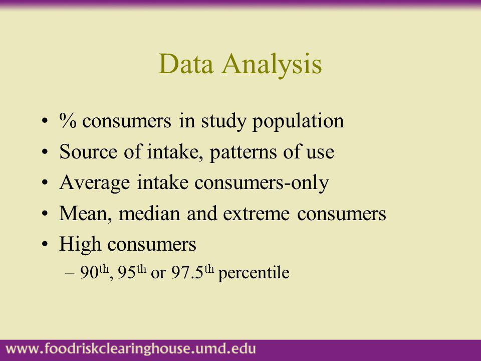 Data Analysis % consumers in study population Source of intake, patterns of use Average intake consumers-only Mean, median and extreme consumers High