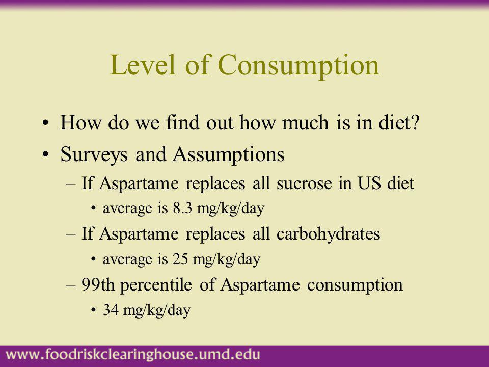 Level of Consumption How do we find out how much is in diet? Surveys and Assumptions –If Aspartame replaces all sucrose in US diet average is 8.3 mg/k
