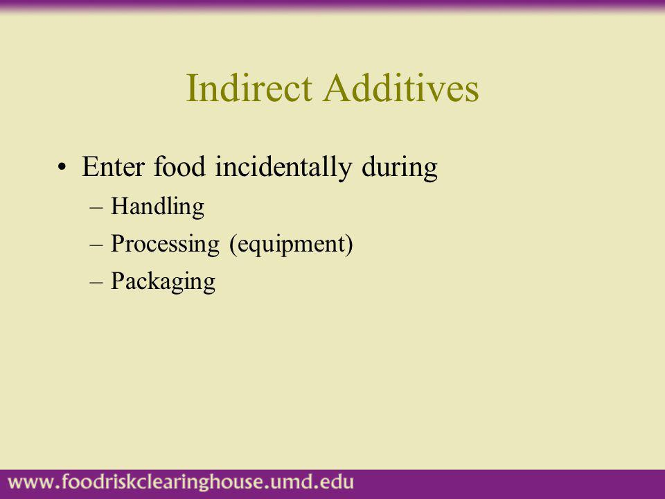 Indirect Additives Enter food incidentally during –Handling –Processing (equipment) –Packaging