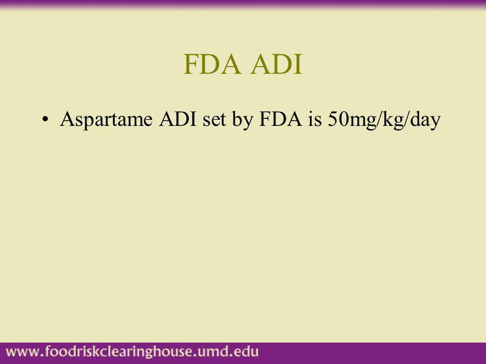 FDA ADI Aspartame ADI set by FDA is 50mg/kg/day