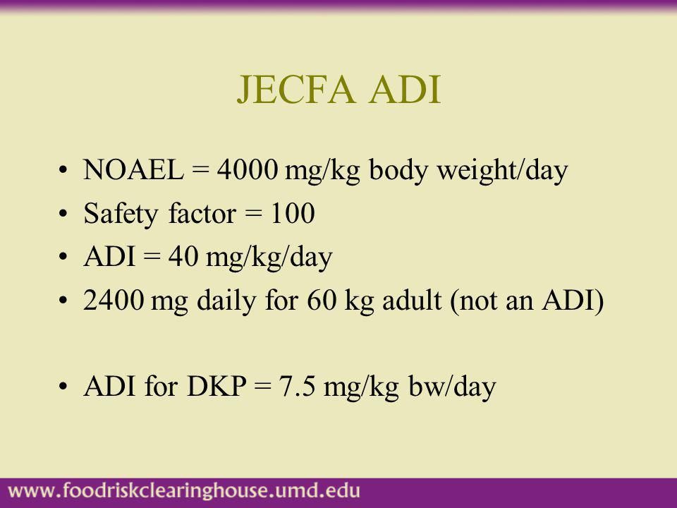 JECFA ADI NOAEL = 4000 mg/kg body weight/day Safety factor = 100 ADI = 40 mg/kg/day 2400 mg daily for 60 kg adult (not an ADI) ADI for DKP = 7.5 mg/kg