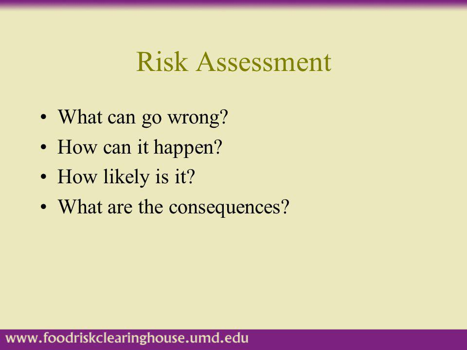 Risk Assessment What can go wrong? How can it happen? How likely is it? What are the consequences?