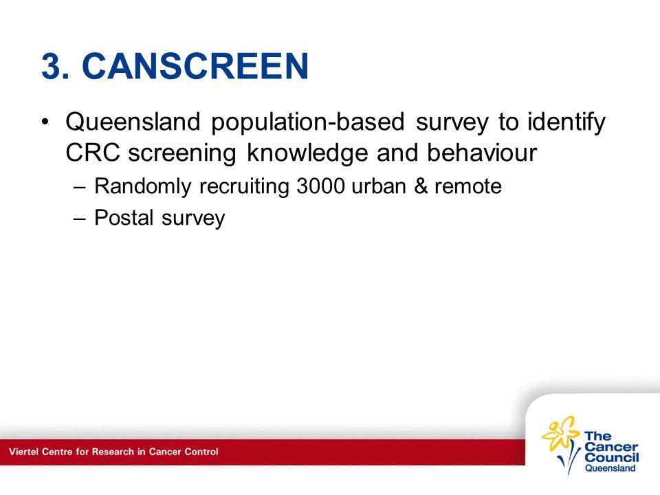 C a n c e r S u p p o r t S e r v I c e s 3. CANSCREEN Queensland population-based survey to identify CRC screening knowledge and behaviour –Randomly