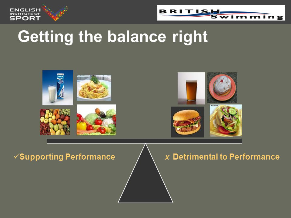 Macronutrients, Micronutrients, & Fluids Carbohydrate – TO GO –Swimming Fuel (muscle and liver glycogen stores) Protein – TO GROW –Building blocks (growth & repair of body tissues) Fat –Brain and Muscles work (Cellular function) Vitamins and Minerals – TO GLOW –Healthy body functions (homeostasis, cellular function) Water –Transport and Cooling system (homeostasis)