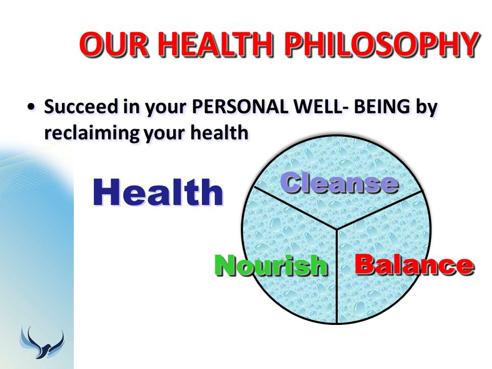 OUR HEALTH PHILOSOPHY Succeed in your PERSONAL WELL- BEING by reclaiming your health CleanseCleanse BalanceBalance NourishNourish Health