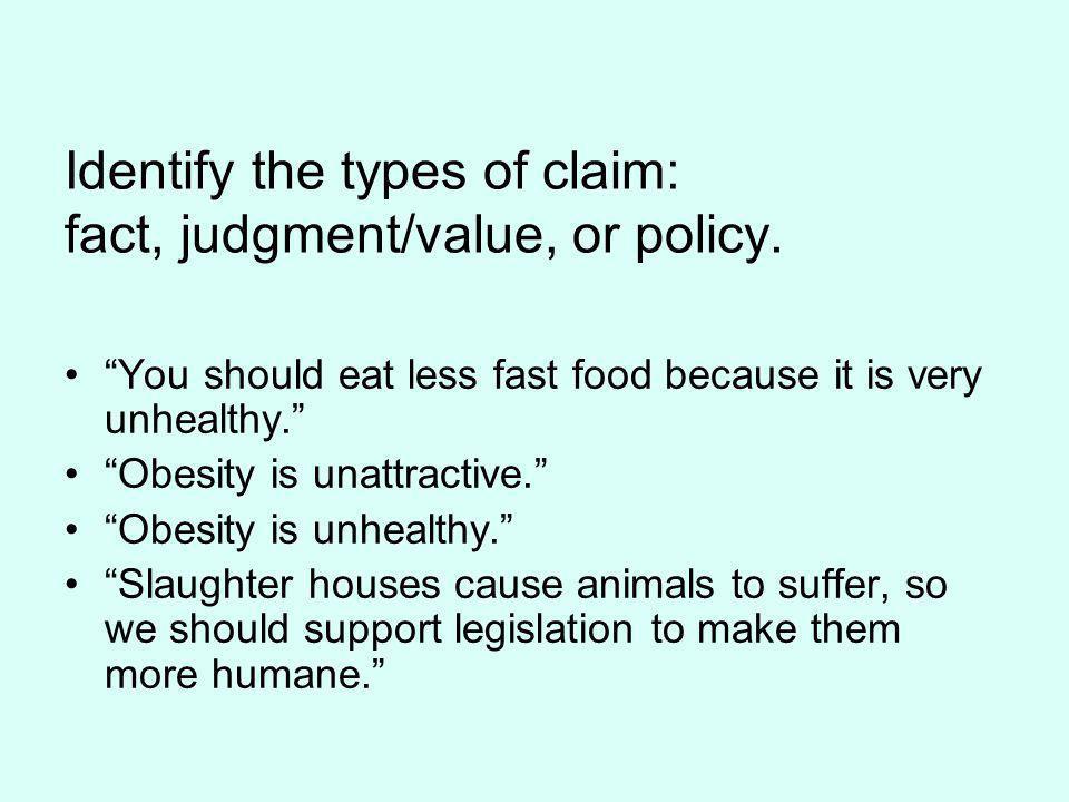 Claim: You should eat less fast food.
