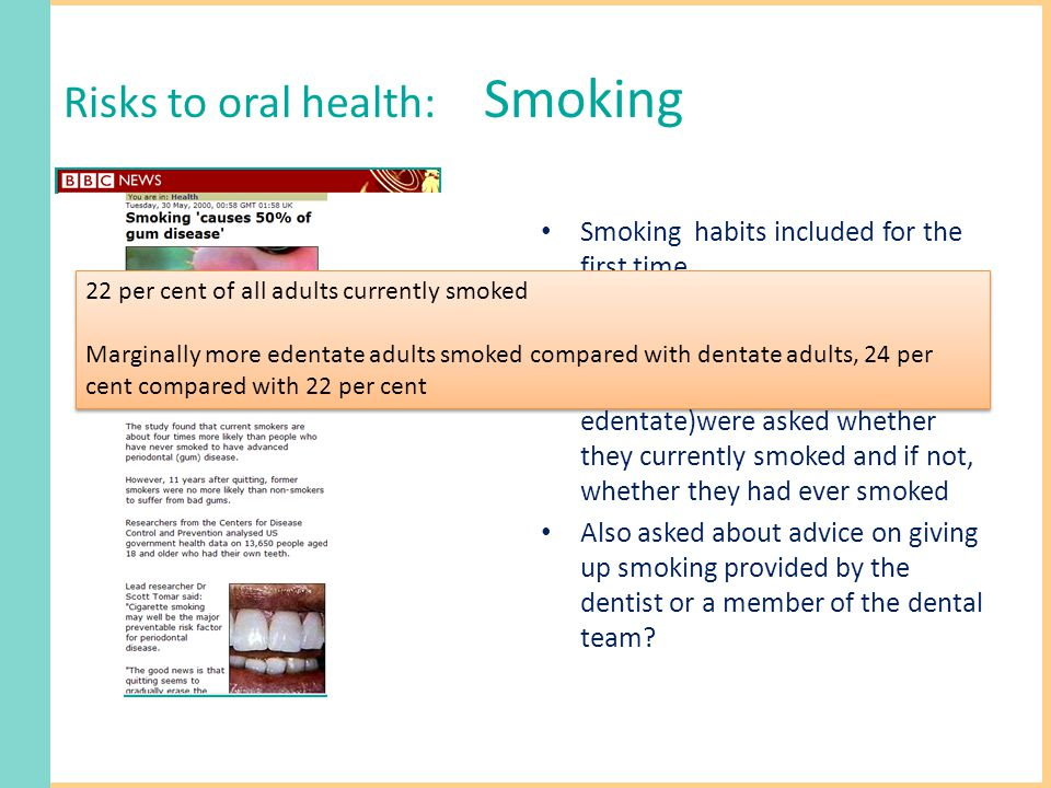 Risks to oral health: Smoking Smoking habits included for the first time Government surveys harmonised questions used All respondents, (dentate & edentate)were asked whether they currently smoked and if not, whether they had ever smoked Also asked about advice on giving up smoking provided by the dentist or a member of the dental team.