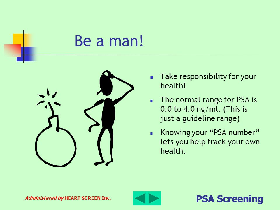 Administered by HEART SCREEN Inc. PSA Screening Be a man! Take responsibility for your health! The normal range for PSA is 0.0 to 4.0 ng/ml. (This is