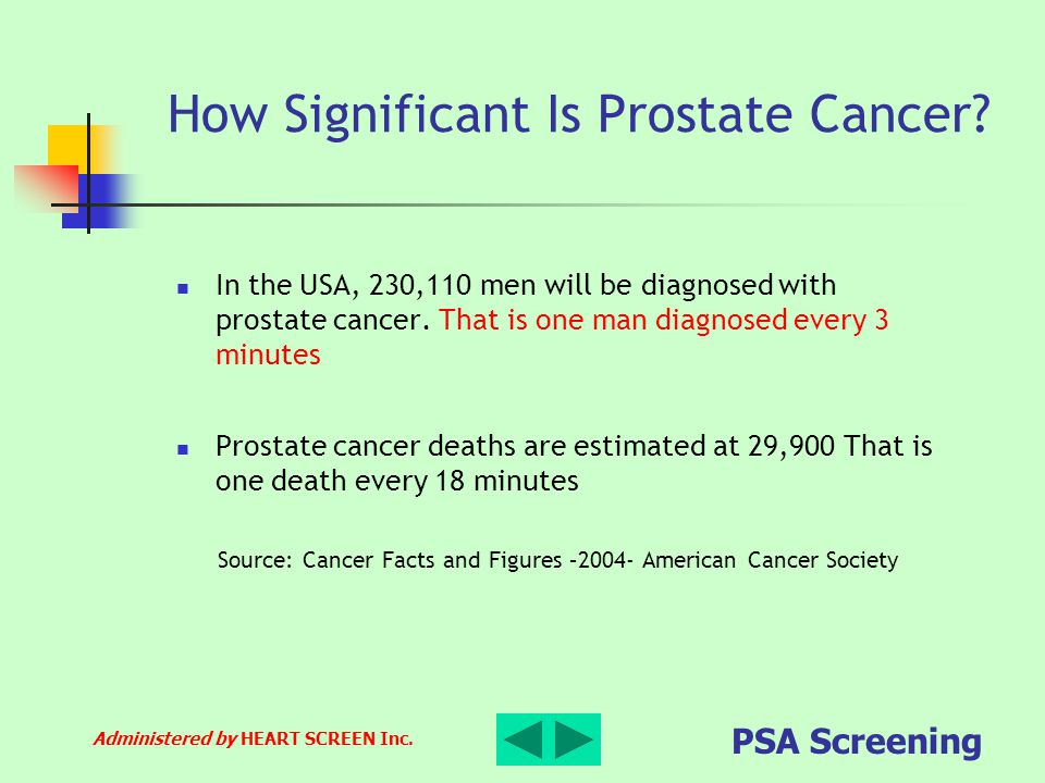 Administered by HEART SCREEN Inc. PSA Screening How Significant Is Prostate Cancer? In the USA, 230,110 men will be diagnosed with prostate cancer. Th
