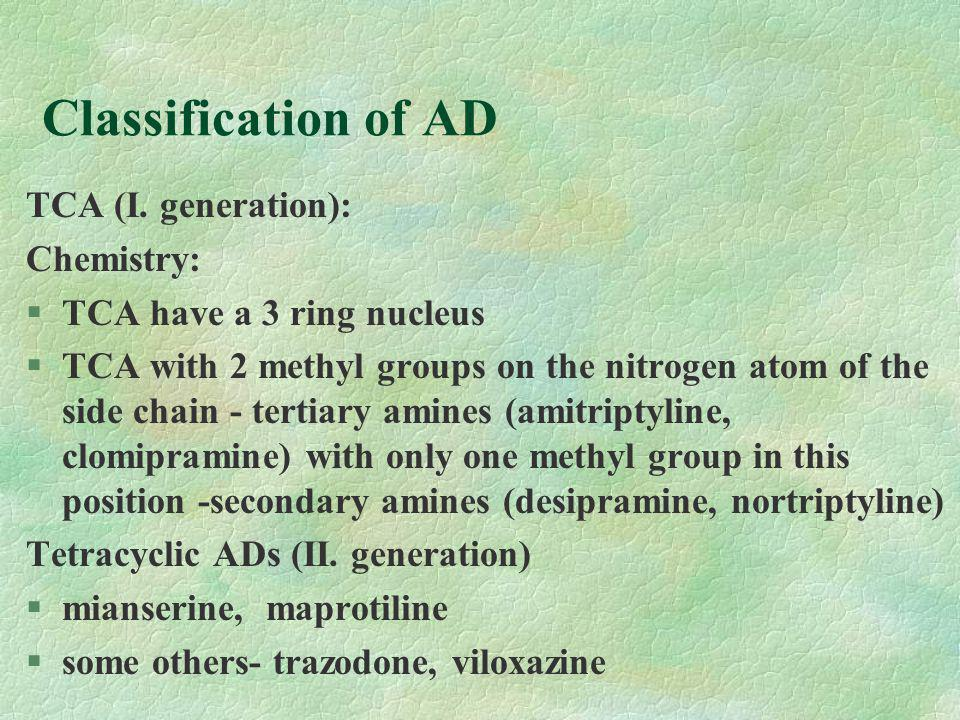 Classification of AD SSRI (III.generation) : §fluoxetine (f.o.