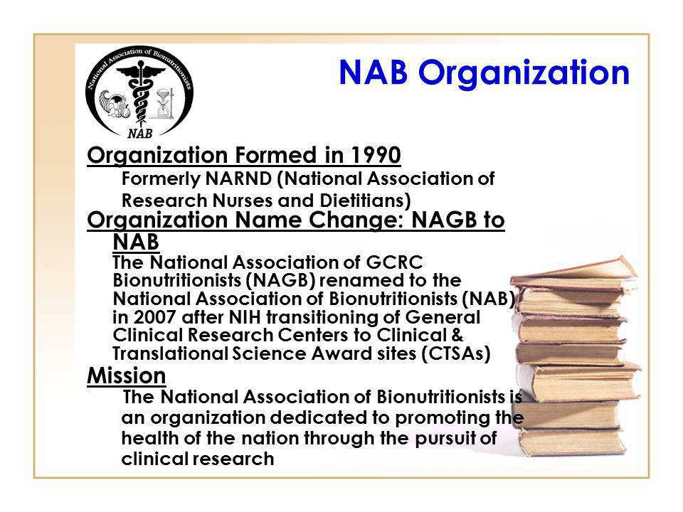 Organization Formed in 1990 Formerly NARND (National Association of Research Nurses and Dietitians) Organization Name Change: NAGB to NAB The National Association of GCRC Bionutritionists (NAGB) renamed to the National Association of Bionutritionists (NAB) in 2007 after NIH transitioning of General Clinical Research Centers to Clinical & Translational Science Award sites (CTSAs) Mission The National Association of Bionutritionists is an organization dedicated to promoting the health of the nation through the pursuit of clinical research NAB Organization
