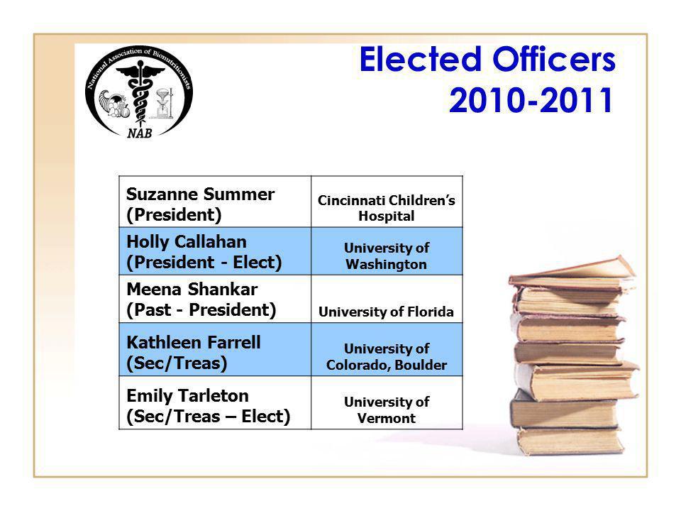 Elected Officers 2010-2011 Suzanne Summer (President) Cincinnati Childrens Hospital Holly Callahan (President - Elect) University of Washington Meena