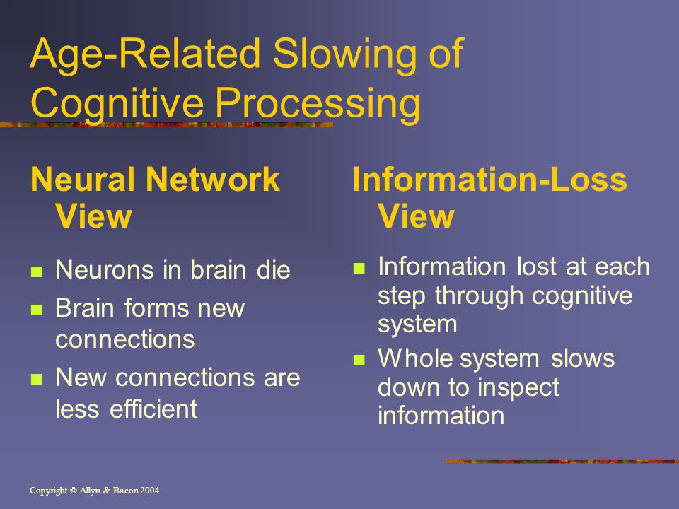 Copyright © Allyn & Bacon 2004 Age-Related Slowing of Cognitive Processing Neural Network View Neurons in brain die Brain forms new connections New connections are less efficient Information-Loss View Information lost at each step through cognitive system Whole system slows down to inspect information