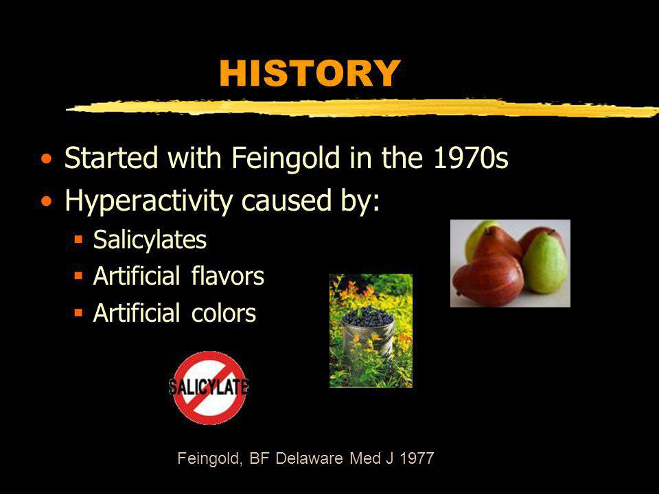 HISTORY Started with Feingold in the 1970s Hyperactivity caused by: Salicylates Artificial flavors Artificial colors Feingold, BF Delaware Med J 1977