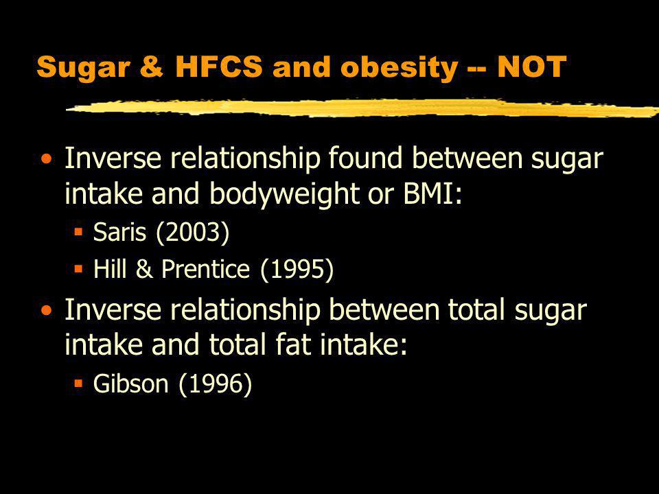 Sugar & HFCS and obesity -- NOT Inverse relationship found between sugar intake and bodyweight or BMI: Saris (2003) Hill & Prentice (1995) Inverse relationship between total sugar intake and total fat intake: Gibson (1996)