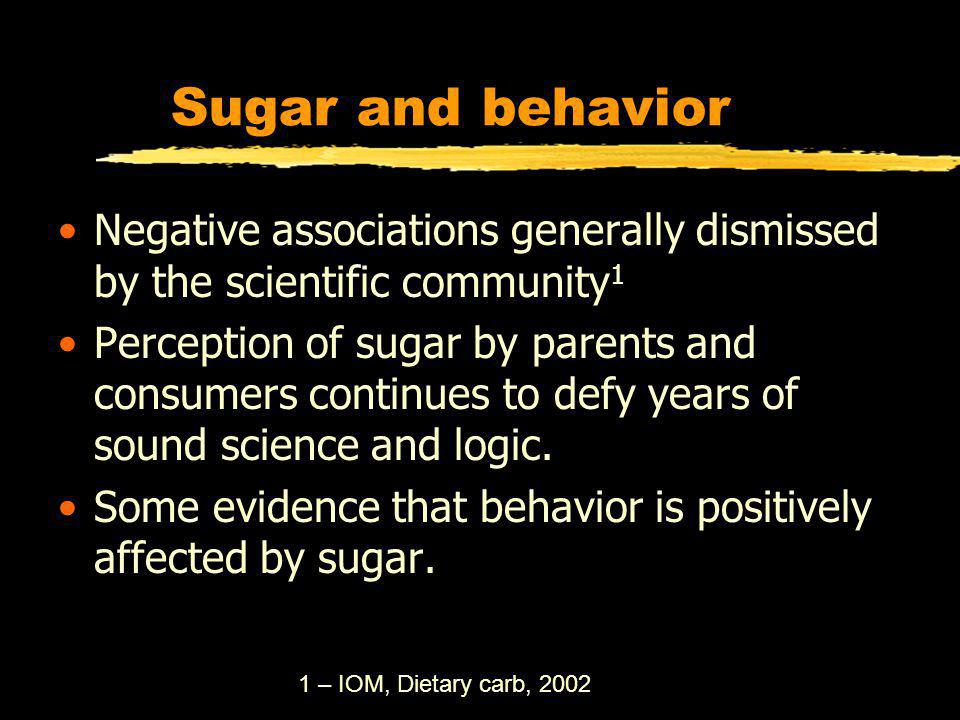 Sugar and behavior Negative associations generally dismissed by the scientific community 1 Perception of sugar by parents and consumers continues to defy years of sound science and logic.