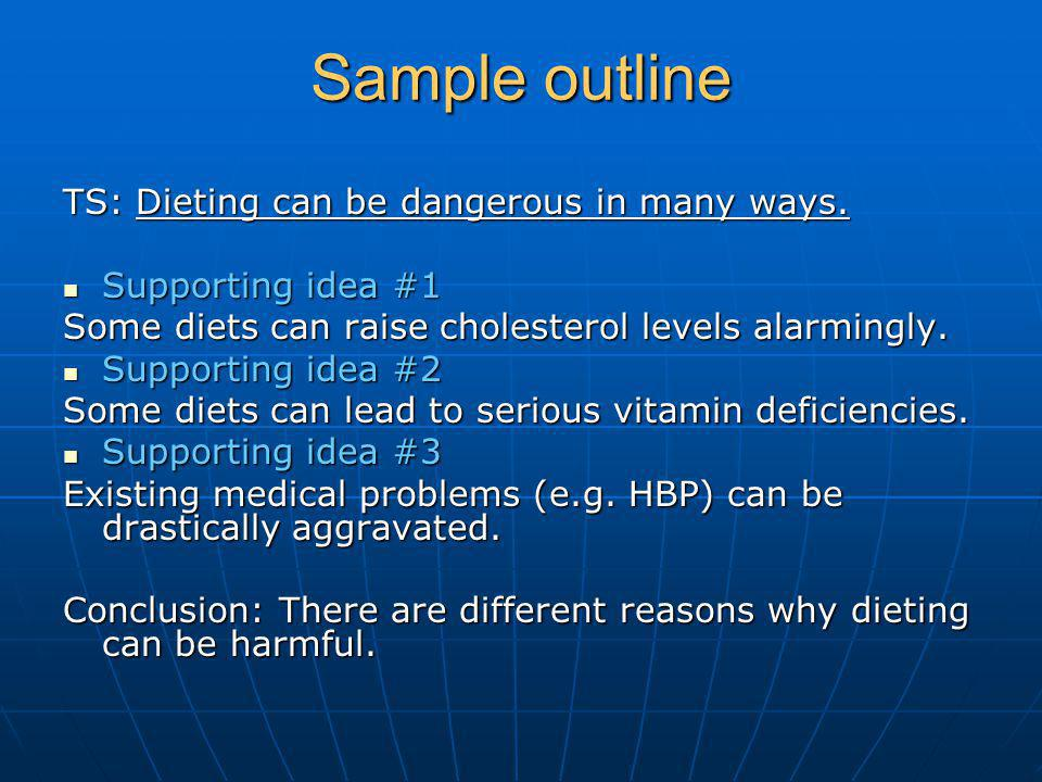 Sample outline TS: Dieting can be dangerous in many ways.
