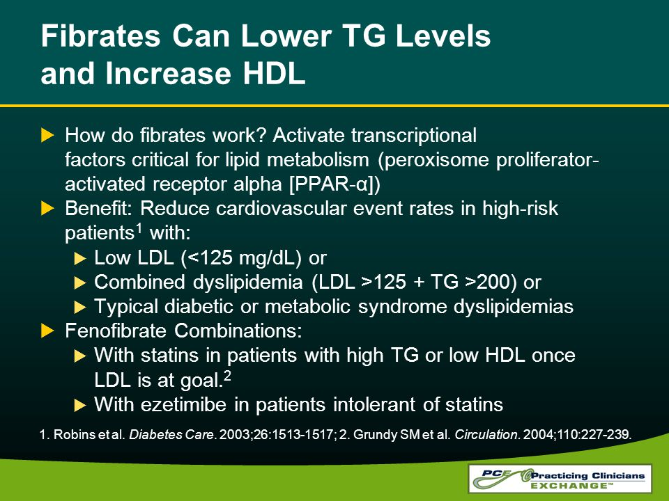 Fibrates Can Lower TG Levels and Increase HDL How do fibrates work.